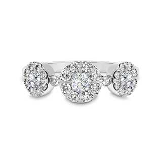 Classic Halo Three-Stone Diamond Ring