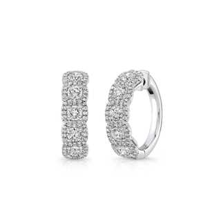 Halo Accented Hoop Earrings