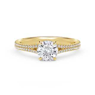 Forevermark Icon™ Setting Round Engagement Ring with Two Row Pave Band